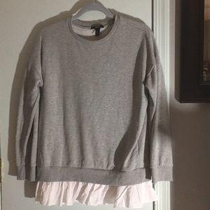 Forever 21 Gray Sweatshirt w White Ruffle Hem